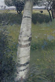 Otto Modersohn: Birke in blühender Landschaft. 1903.
