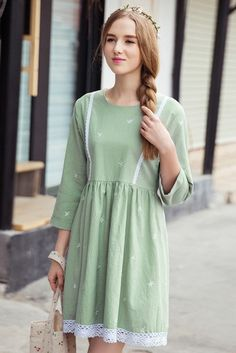 Lace Embroidery Green Babydoll Dress