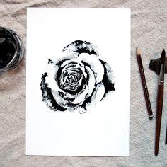 Rose  Art Print  Ink Painting  Monochrome  A5 by JaslyneGanStudio