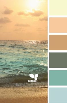 A palette of beautiful colors for any kitchen decor! Colour Pallette, Color Palate, Color Combos, Beach Color Schemes, Ocean Color Palette, Beach Paint Colors, Beach House Colors, Beach Color Palettes, Sunset Palette