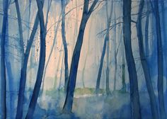 Buy Prints of Misty Morning in the trees, a Watercolor on Paper by Alessandro Andreuccetti from Italy. It portrays: Tree, relevant to: blue, sunset, trees, woods, mattino, alba, fog, forest Medium: watercolor on paperYear Created: 2008  Original painting is SOLD