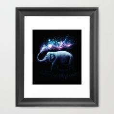 Elephant Splash Framed Art Print elepahant, animals, universe, space