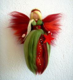 Reserved for Bonnie Needle Felted Wool Fairy Christmas Angel X-MAS Ornament Faeries Doll Soft Sculpture Wool Craft Waldorf Inspired Christmas Fairy, Felt Christmas, Christmas Angels, Christmas Crafts, Christmas Poinsettia, Crochet Christmas, Christmas Ornament, Christmas Decorations, Diy Laine