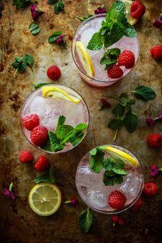 Raspberry Vanilla Mint Fizz from HeatherChristo.com Lynchburg Lemonade, Happy Thirsty Thursday, Bean Seeds, Happy Hour Drinks, Stir Sticks, Bean Paste, Lemon Slice, Party Drinks, Kombucha
