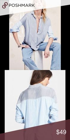 Free People Stripe Cape Town Button Down Blouse Color-blocked oxford stripes bring vibrant energy to a button-front blouse finished with a vented shirttail hem. Free People Tops Button Down Shirts