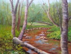 Along the Ellis River 8x10 oil plein air  Sold to a private collector in PA