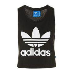Trefoil Cropped Tank by Adidas Originals ($31) ❤ liked on Polyvore featuring tops, loose fitting crop top, loose fit tank, cotton tank, loose fit tank top and crop tank