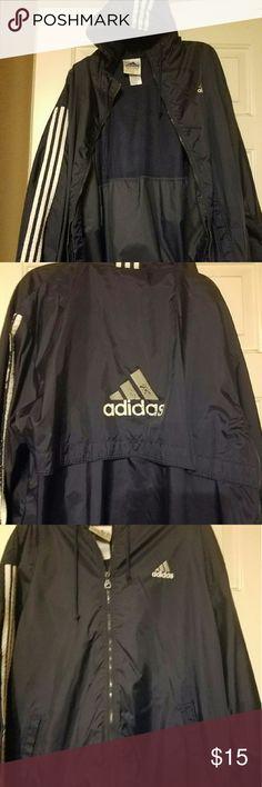 ADIDAS Rain Coat ADIDAS Rain Coat Jacket.  90s Old School 3 Stripe Navy Blue,Men/Women Hooded windbreaker. Adidas Jackets & Coats