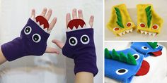 fingerless monster gloves - so cute! I'm thinking put some little stretch gloves under them for warmth :D Fleece Projects, Easy Sewing Projects, Sewing Crafts, Christmas Sewing Projects, Sewing For Kids, Baby Sewing, Monster Gloves, Fleece Patterns, Dress Patterns