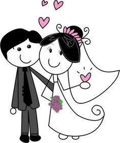 Novios by Luddmii on DeviantArt Wedding Signs, Wedding Cards, Wedding Clip, Faire Part Invitation, Anime Muslim, Wedding Illustration, Stick Figures, Printable Designs, Couples In Love