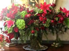 could also be stunning in white Winter Barn Weddings, Christmas Inspiration, Poinsettia, Evergreen, Red Roses, Tulips, Berries, Bouquet, Plants