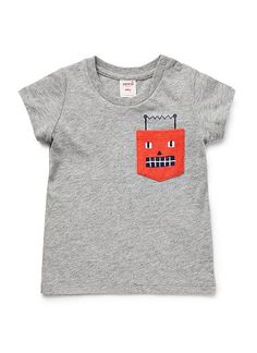 100% Cotton Jersey short sleeve tee with robot pocket print. Features shoulder snaps for easy dressing.
