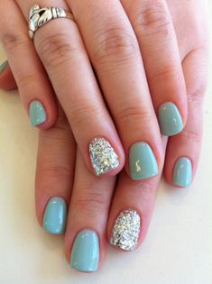 """Bio Sculpture Gel colour - Grace (Hollywood Collection) with silver """"party . - Bio Sculpture Gel colour – Grace (Hollywood Collection) with silver """"party nails"""" - Sky Blue Nails, Teal Nails, My Nails, Manicure Colors, Blue And Silver Nails, Glitter Accent Nails, Nail Colour, Gel Color, Silver Glitter"""