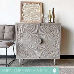 Cabinet $425 Cheers to the weekend 🥂This beautifully carved cabinet works wonderfully as bar storage, while also looking like a piece of art in your home. Cheers, Art Pieces, Carving, Throw Pillows, Entertaining, Bar, Cabinet, Storage, Home