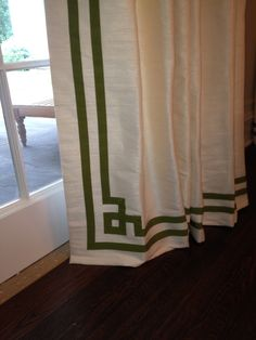 "Curtain detail using grosgrain ribbon in ""Greek Key"" pattern."