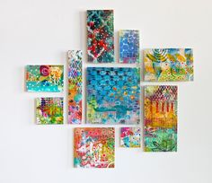 Abstract Collage Painting  10 mini Paintings  by SunshineOnCanvas