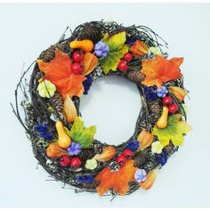 jesenný veniec farebný 35 cm Wreaths, Halloween, Home Decor, Decoration Home, Door Wreaths, Room Decor, Deco Mesh Wreaths, Home Interior Design, Floral Arrangements