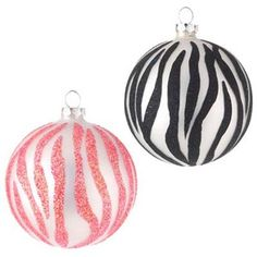 town and country and pink zebra | RAZ Glittered Pink and Black Zebra Print Christmas Ornament Set of 2