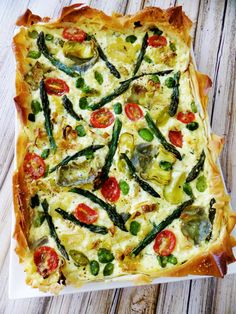 Roasted Spring Vegetable Phyllo Tart...with ricotta, romano, asiago, and ricotta cheeses, garlic, fresh basil, and an egg!