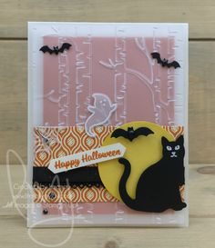 Happy Halloween | Stampin\' Up! | Spooky Cat | Sweet Home #literallymyjoy #blackcat #ghost #bat #spiderweb #spider #Halloween #vellum #SpookyNightDSP #2017HolidayCatalog #20172018AnnualCatalog