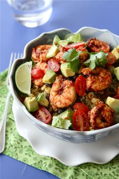 Yummm...healthy shrimp avocado and black beans.  No corn please unless organic  Caution spicy!!!   If you like spicy food you will love this. Cookin' Canuck's Chipotle Shrimp Salad Bowls w/ Avocado, Black Beans & Corn!