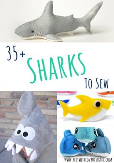Sew an adorable shark softie, a felt shark, or another fun shark project! Animal Sewing Patterns, Felt Patterns, Bag Patterns To Sew, Stuffed Animal Patterns, Sewing Patterns Free, Sewing Ideas, Stuffed Animals, Finger Puppet Patterns, Finger Puppets