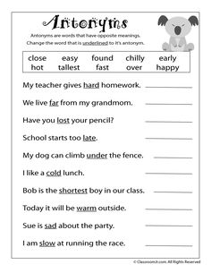 Reading Worksheets: Antonyms and Synonyms antonym-worksheet – Classroom Jr. Reading Worksheets: Antonyms and Synonyms antonym-worksheet – Classroom Jr. Social Studies Worksheets, 2nd Grade Worksheets, School Worksheets, Grammar Worksheets, Antonyms Worksheets, Free Worksheets, Printable Worksheets, Free Printable, Grammar Activities