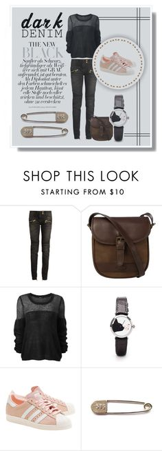 """""""dark d"""" by nancyrolereversal ❤ liked on Polyvore featuring Balmain, DUBARRY and adidas Originals"""
