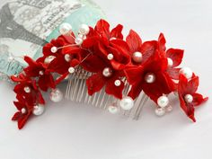 Bridal headdress ~ Hair flowers wedding, prom, Christmas party ~ Unique bridal headpiece ~ Red and white wedding comb / wreath - pinned by pin4etsy.com