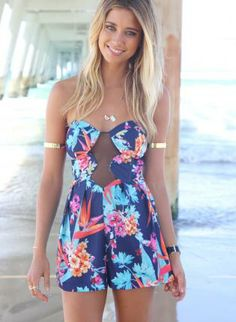 Multi-Colored Floral Strapless Playsuit with Mesh Neck,  Other, multi  playsuit  floral  mesh  strapless, Chic