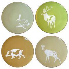 Bernardaud Nature set of 4 dinner plates, 4 patterns