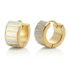 R&B Joyas - Pendientes de hombre, anillos estilo rueda, acero inoxidable, color oro / plateado: Amazon.es: Joyería