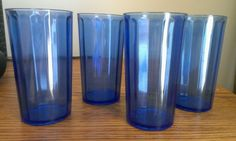 """Vintage Water Tumblers Blue Cobalt Glass set of 4 each measuring 4.75"""" tall in Pottery & Glass, Glass, Glassware 