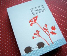 Etsy の Letterpress Hedgehogs Thank You set of 6 by LuckyBeePress