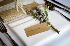 Rosemary and lavender name tags - Bury Court Barn Image taken by Damian Bailey Photography