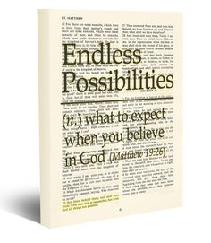 Endless Possibilities - With God all things are possible - Matthew 19:26 Vintage Bible page verse scripture Christian wrapped art CANVAS, dictionary wall & home decor. This reproduction wrapped CANVAS of a highlighted King James Bible scripture is sure to make a great gift for someone. We scan real pages from old Bibles (thus they have slight flaws and aging such as bleeding words from the other side, because the pages are so thin), which just adds to the character. This is a perfect...