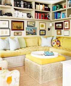 Beth Blake and Corbin Day's Colorful Sag Harbor Escape - Love the arrangement of built-in seating, gallery and shelves built into the upper section of wall.