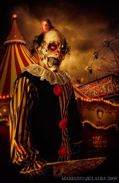 You know shit just got real when there are zombie clowns involved. (ART: 'Creepy Show' by Gruseliger Clown, Creepy Clown, Creepy Art, Circus Clown, Creepy Circus, Haunted Circus, Circus Theme, Arte Horror, Horror Art