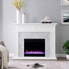 Tynchel Mirrored Faux Stone Fireplace With Color Changing Firebox Antique Silver - Aiden Lane : Target Fireplace Remodel, Fireplace Mantle, Tiled Fireplace, Herringbone Fireplace, Fireplace Ideas, Electric Fireplace With Mantle, Modern Fireplace Decor, Tile Around Fireplace, Fireplace Molding