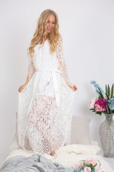 This item is unavailable Lace Bridal Robe, Bridal Party Robes, Lace Weddings, Wedding Lace, Bridesmaid Robes, White Slip, Hemline, Ivory, Belt