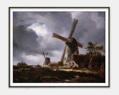 Landscape with Windmills by John Constable - Fine Art Reproduction - Giclee Print