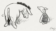 """""""Just the house for owl. Don't you think so, little Piglet?""""    """"This original illustration was reproduced on page 159 of The House at Pooh Corner and is from the chapter in which Eeyore finds the Wolery and Owl moves into it. It shows Eeyore suggesting to Piglet that Piglet's house, the """"Wolery"""", would be a perfect new home for Owl."""""""