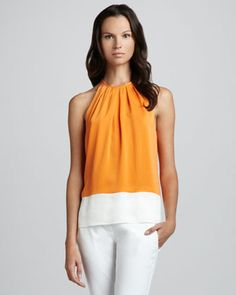 Milka C. Colorblock Blouse by Theory at Neiman Marcus.