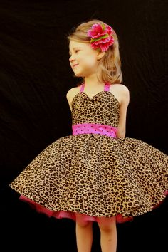 Pink and Leopard Rockabilly Dress by DarlingInDisguise on Etsy, $45.00
