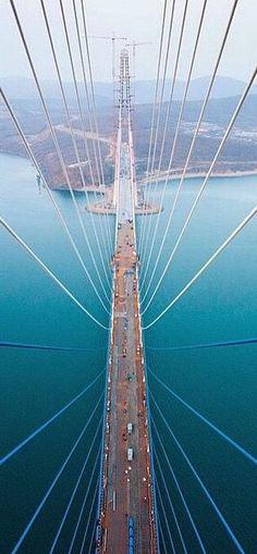 Drone view of Vladivostok Bridge in Russia /// #travel #wanderlust