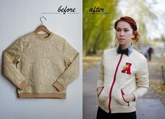 How to turn a simple blouson into a trendy letterman jacket.