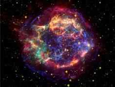 This stunning picture of the supernova remnant Cassiopeia A (Cas A) is a composite of images taken by three of NASAs Great Observatories. Infrared data from the Spitzer Space Telescope are colored red; optical data from the Hubble Space Telescope are yellow; and X-ray data from the Chandra X-ray Observatory are green and blue
