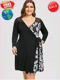 bb6991f3360 Best Prices Plus Size Floral Print Mesh Panel Wrap Dress 1930653  mn59X8pNAh3cM2V7QKUC Cheap Sale  RoseGal