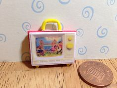 Hand made Dolls house Miniature replica vintage fisher price two tune tv 1/12 scale