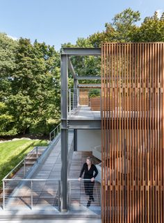 Boston firm Flavin Architects has built a three-storey addition for a house in Massachusetts to offer space for a couple to write, garden and repair antique scooters. Timber Architecture, Tropical Architecture, Amazing Architecture, Dutch Colonial Homes, Modern Lanterns, Steel Barns, Dappled Light, Modern Patio, Old Farm